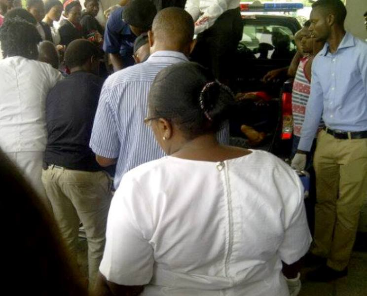 Victims of the accident being evacuated at the General Hospital, Calabar this morning. (photo credit: Ogon Bonaventure Ojar)