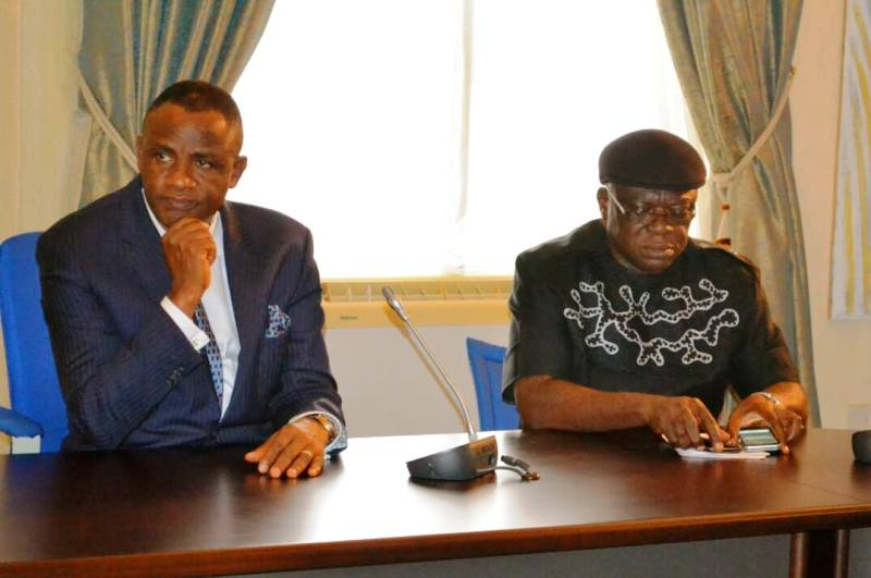 MD NDDC Barrister Dan Abia (left) with Commissioner representing Cross River on the Board Hon. Paul Adah during the courtesy visit of the NDDC to CRS Governor Benedict Ayade in Calabar