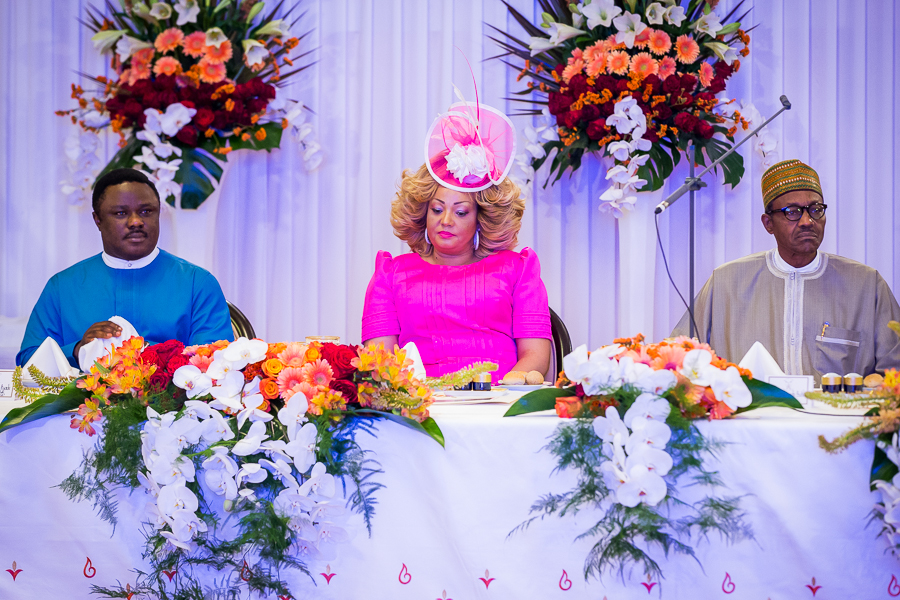 From left: Governor Ben Ayade of Cross River State, Cameroonian First Lady, Mrs. Chantel Biya and President Mohammadu Buhari at a state dinner in honor of President Buhari in Yaounde