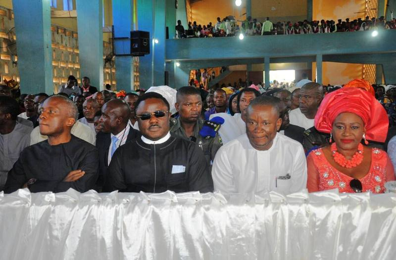From left: Senator Gershom Bassey, Governor Benedict Ayade, Senator Owan Enoh and wife at the thanksgiving service