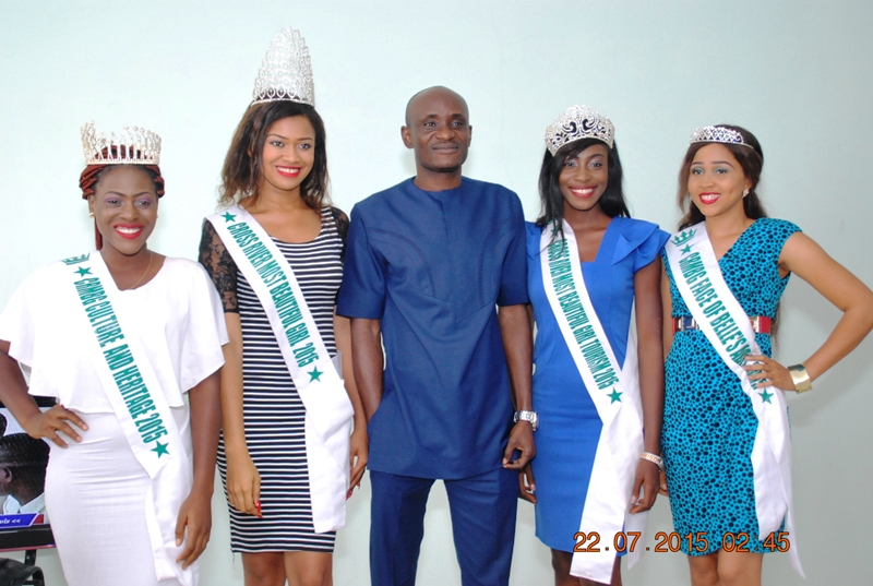 Speaker of the Cross River House of Assembly, Hon. John Gaul and the beauty queens after the visit