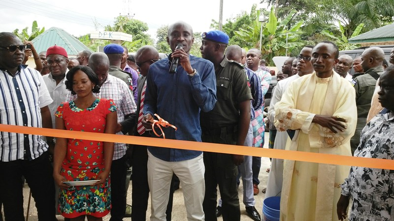 Speaker, Cross River State House of Assembly, Hon. John Gaul Lebo while commissioning the cottage industries in Obubra, Cross River State