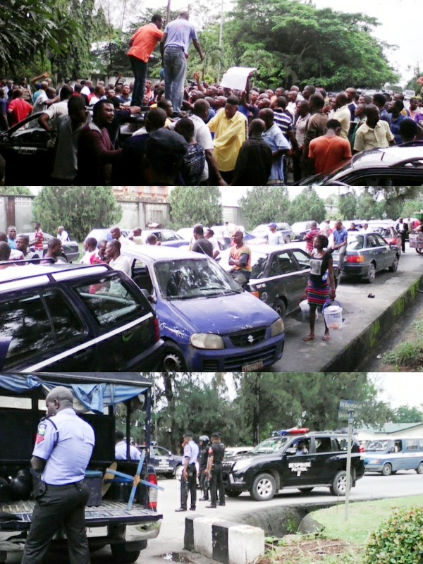 Members of the taxi union during their protest this morning in Calabar