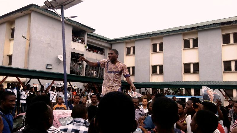 Ekpo Tete, President, UNICAL SUG addressing students after he was declared winner today