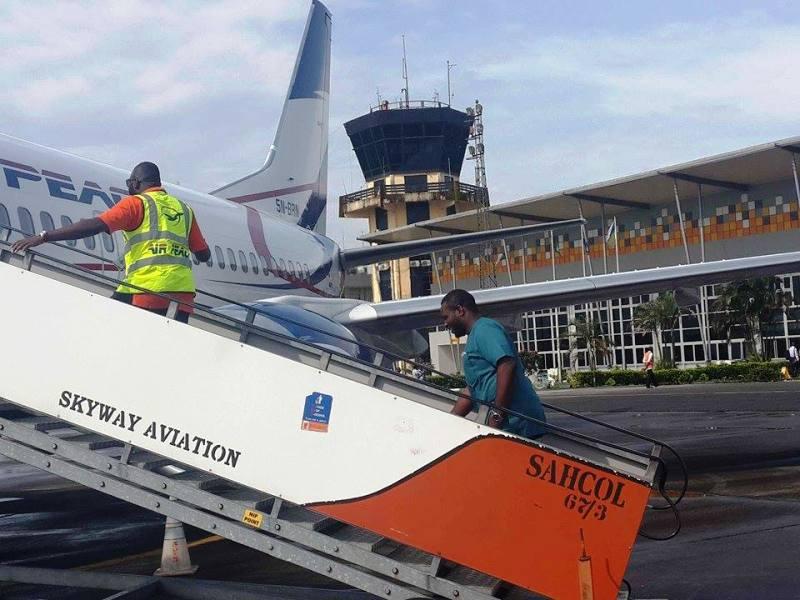 Abuja bound passengers boarding an Air Peace flight in Calabar yesterday (photo credit - CrossRiverWatch)