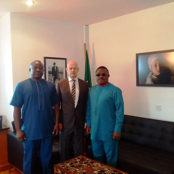 From right: Cross River State Governor, Senator Ben Ayade, Irish Ambassador to Nigeria, Sean Hoy and Mr. Chuks Owo during the Governor's visit to the Iris Embassy in Abuja yesterday