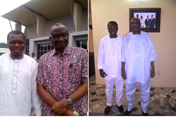(Left) Chief Kanu Agabi SAN and Agba Jalingo at the Margaret Ekpo International Airport, Calabar.  (Right) Chief Clement Ebri and Agba Jalingo in the former governor's residence in Calabar