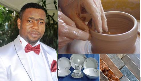 Emmanuel Etim and samples of ceramic products