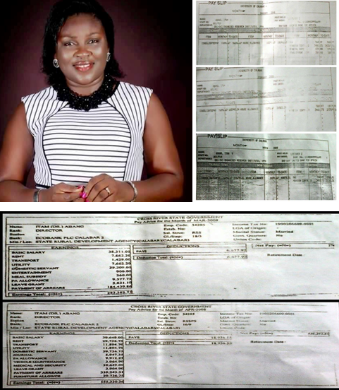 Hon. Itam Abang and the pay slips where she continued collecting salaries while on leave of absence without pay