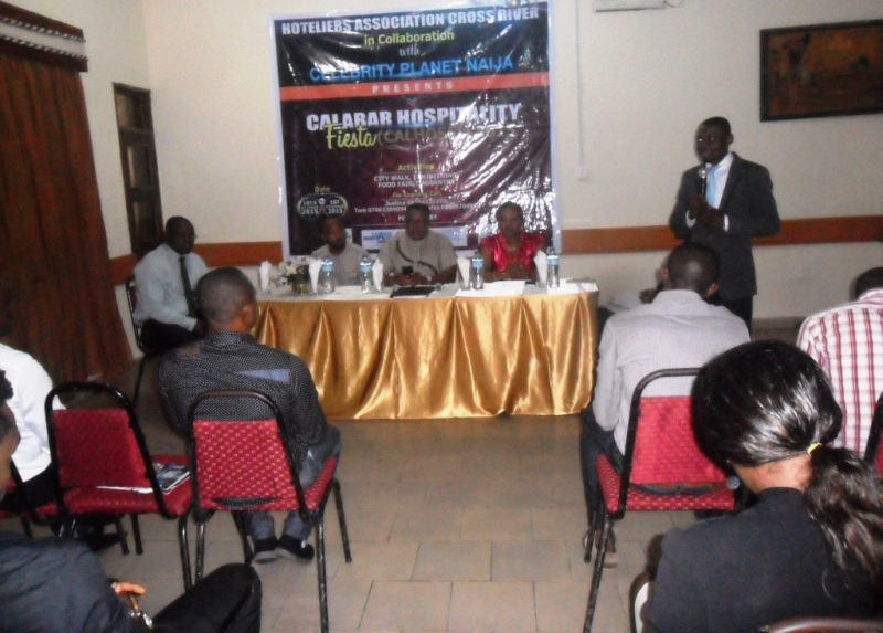 Officials of the Hoteliers Association addressing the Press at Pyramid Hotel in Calabar