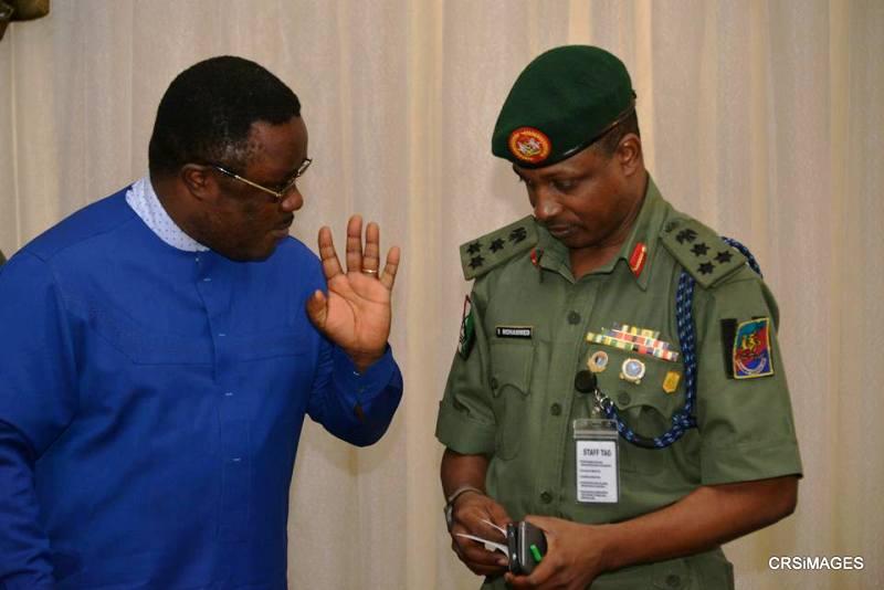 Governor Ayade and Brigade Commander, 13 Brigade of the Nigerian Army, Brigadier General Sanni Mohammed