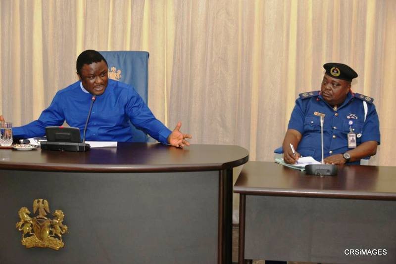 Governor Ayade and the State Commandant, Nigerian Security Civil Defence Corps, Mr. Clement Adesuyi Dayo