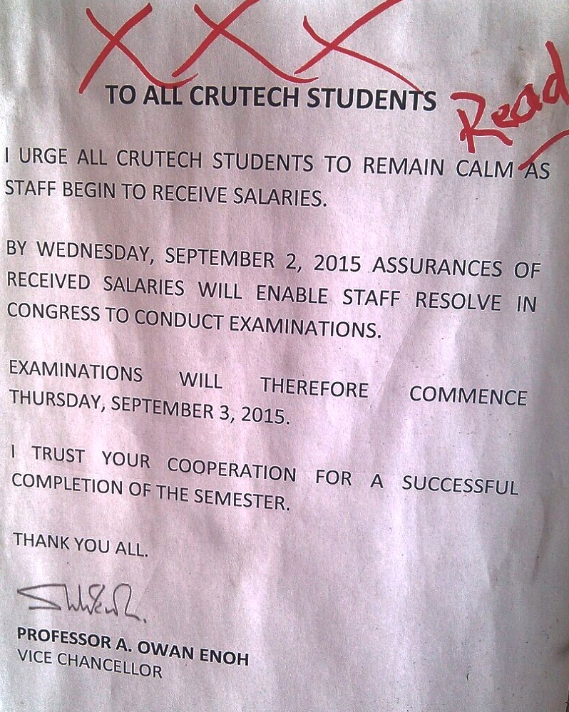 ASUU CRUTECH Fail To Resolve On Examination Commencement Despite VC's Assurances