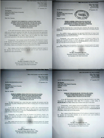 The four letters requesting the House for approval to loan 30B