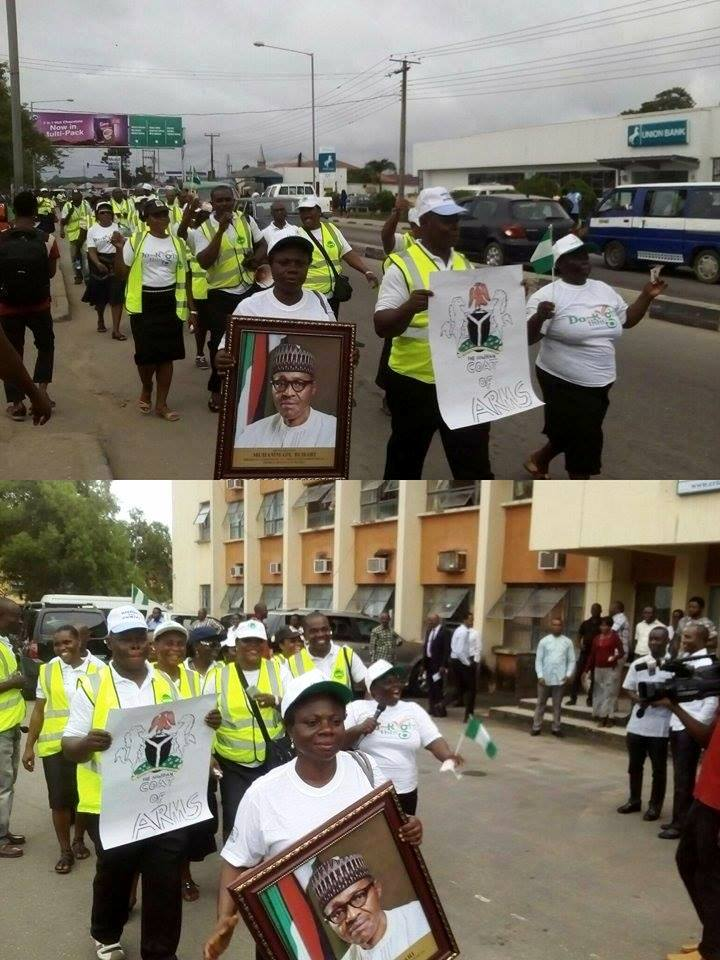 Members of staff of the NOA during the 10km sensitization walk in Calabar