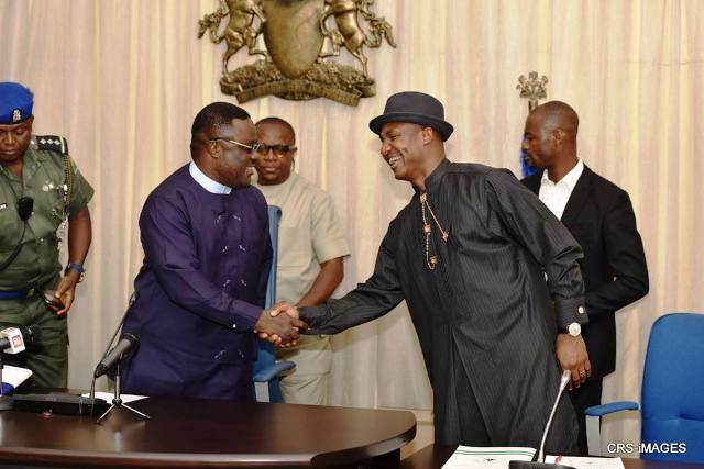 Governor Ayade in a handshake with the Chairman of the National Christians Pilgrims Board after their meeting in Calabar