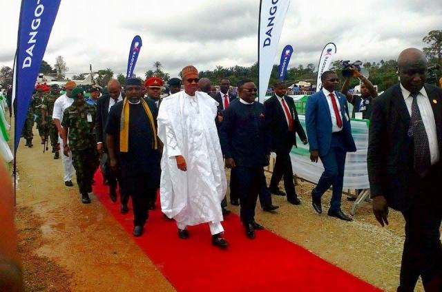 President Buhari, Governors Ben Ayade and Rochas Okorocha arriving the venue of the ground breaking ceremony in Nsan, Akamkpa LGA, Cross River State.