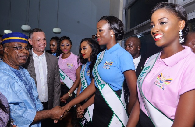 From left, Deputy Governor of Cross River, Prof Ivara Esu and Vice President Silverbird Group, Mr. Guy Murray-Bruce interacting with a cross section of the 37 contestants for the 2015 edition of MBGN at a cocktail in Calabar, yesterday