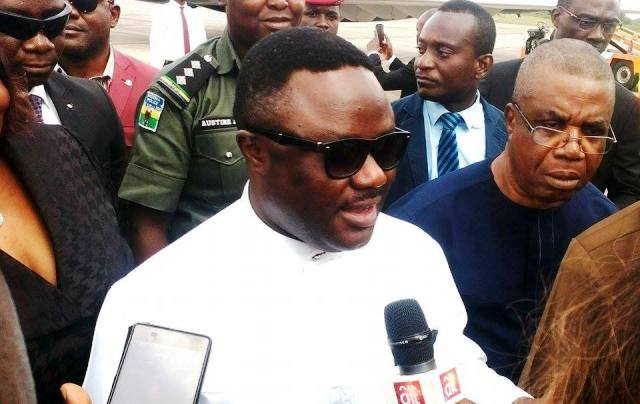 Governor Ayade speaking to correspondent on arrival yesterday