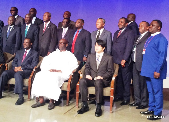 """(1st from right standing), Cross River State Governor and member of Nigerian delegation, Senator Ben Ayade, (1st from left seating), President of Economic Community of West African States (ECOWAS) H.E Kadre Desire Ouedraogo with other participants, at the """"1st ECOWAS - Japan Business Forum 2015"""" in Hyatt Regency Tokyo. Japan.... """