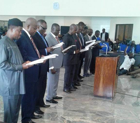 Cross section of the commissioners taking their oath of office today in Calabar