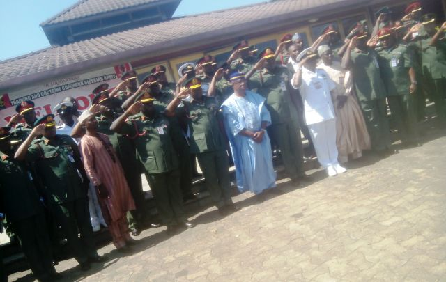 Deputy Governor of Cross River State, Professor Ivara Esu, (middle) flanked by Defence Chiefs at the Obudu Cattle Ranch recently