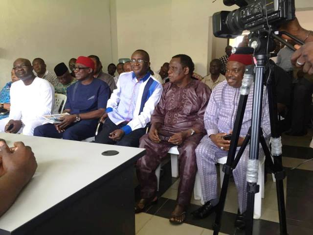 Former Senate Leader, Victor Ndoma Egba at the APC State Secretariat to announce his decamping to the party