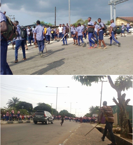 The rival students wielding stick and iron rods yesterday