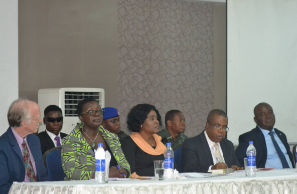 (2nd from right), Cross River State Deputy Governor, Professor Ivara Esu and other UN officials at the opening of the workshop in Calabar