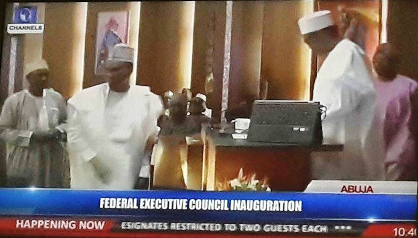 Niger Delta Minister, Usani Usani being sworn in earlier today