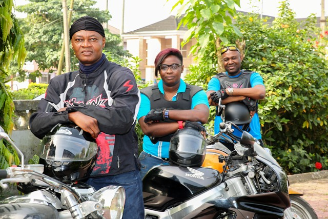 Mr. Akin Ricketts, immediate past Commissioner of Information (behind) and some leaders of the Tinapa Motor-bike Club gearing up for the bikers show on December 27, at the ongoing Calabar Festival