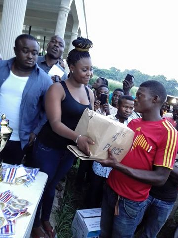 4th place winner receiving a gift at this year's Adamade Peace Cup Competition in Obudu (file pix)