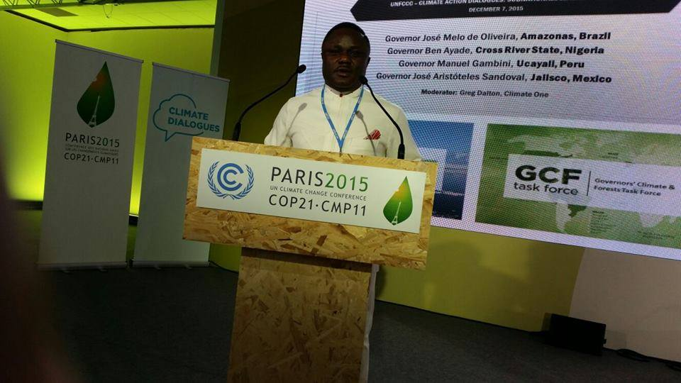 Governor Ayade speaking at the climate change summit in Paris
