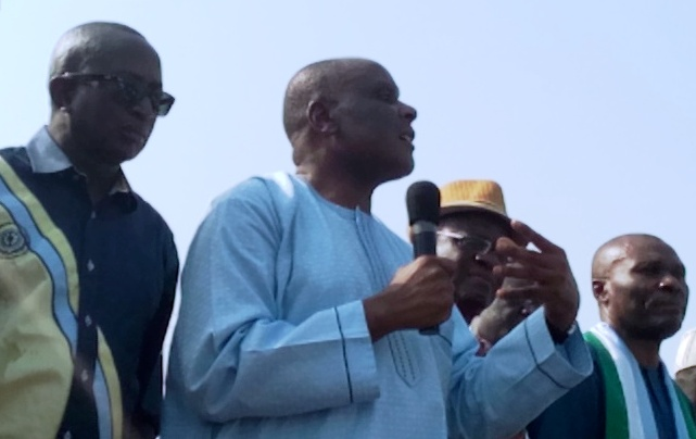 From Left (Senator Victor Ndoma Egba SAN, Chief Clement Ebri, APC State Secretary Biship Ebong and Minister of Niger Delta Affairs, Pastor Usani Usani speaking at the event to welcome Chief Ebri into the APC in Mkpani, Yakurr