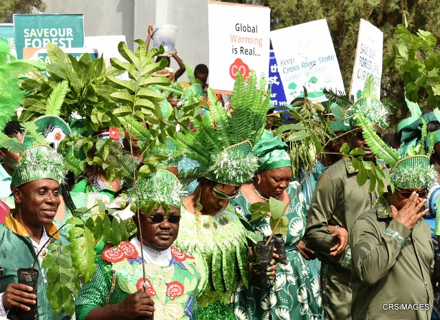 From left) Former governor of Rivers State and Minister for Transportation, Mr. Rotimi Amaechi, Cross River State Governor Ben Ayade and wife, Linda, and his Deputy, Professor Ivara Esu at the Green Carnival tree planting campaign flag-off in Calabar