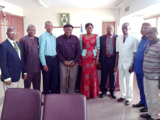 Cross River State Commissioner for Health, Inyang Asibong in a group photo with members of the State Chapter of Association of General and Private Medical Practitioners of Nigeria (AGPMPN) at their a courtesy call