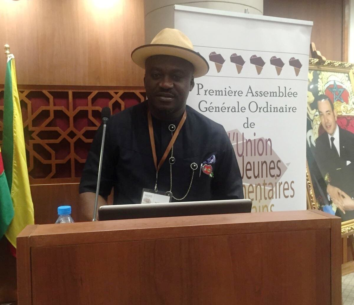 Hon. Legor Idagbo speaking at the Young Africans Parliamentary Conference in Rabat, Morocco, yesterday