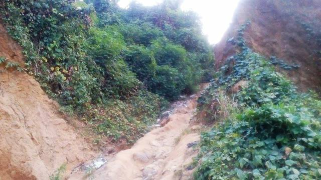 An uncompleted road project now caving in at MCC axis