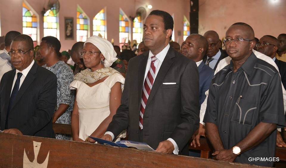 (L) Cross River State Deputy Governor, Professor Ivara Esu, Mrs. Rose Offoboche, former Governor of the state, Mr. Donald Duke, former Senate Leader, Senator Victor Ndoma-Egba, at the funeral mass of Late Matthias Ofoboche (a former Deputy Governor of the state), at St. Bernard's Cathedral Calabar. Calabar...yesterday