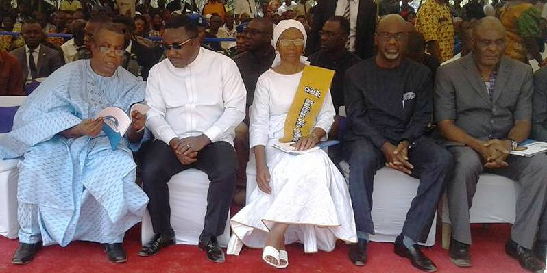 From left : Cross River State Deputy Governor, Professor Ivara Esu, Governor of Cross River state, Senator Ben Ayade, Mrs. Rose Offoboche, and former Governors of the state, Senator Liyel Imoke and Chief Clement Ebri the burial ceremony of Late Dr. Matthias Offoboche, a former Deputy Governor of the state, in Yala LGA