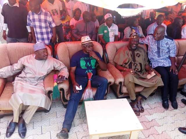 Senator Isah Hamman and Senator Dino Melaye receiving a former chieftain of PDP in Obudu and former member of the House of Representatives and immediate past Commissioner representing Cross River State in the NDDC, Hon. Paul Adah into the APC in Obudu yesterday