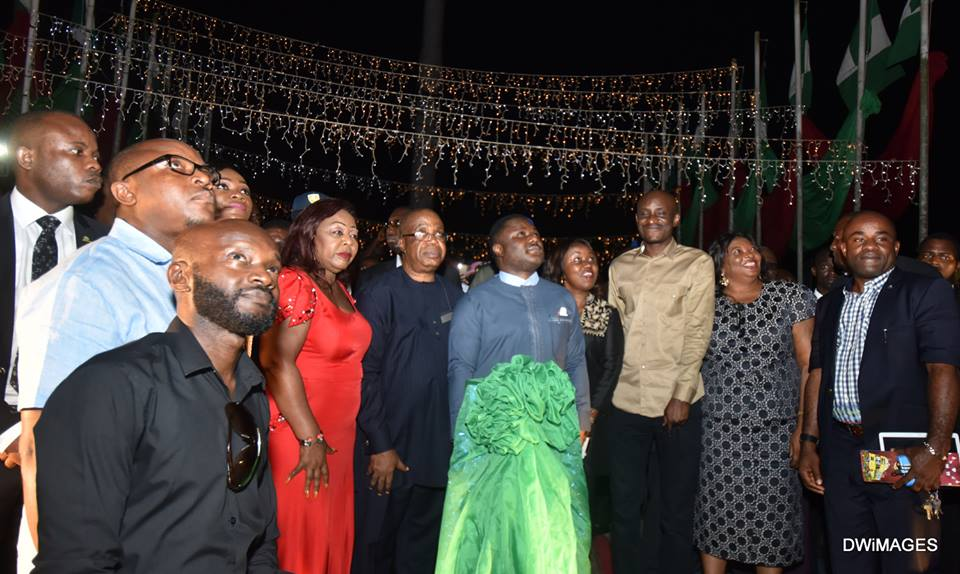 From left: Senator Florence Ita Giwa, Deputy Governor Ivar Esu, Governor Ayade, Speaker CRSHA, Hon. John Gaul, SSG, Barrister Tina Agbor and PDP State Chairman, Ntufam John Okon during the Christmas lighting ceremony in Calabar last night