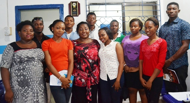 Eme Offiong (middle) and participants after the training