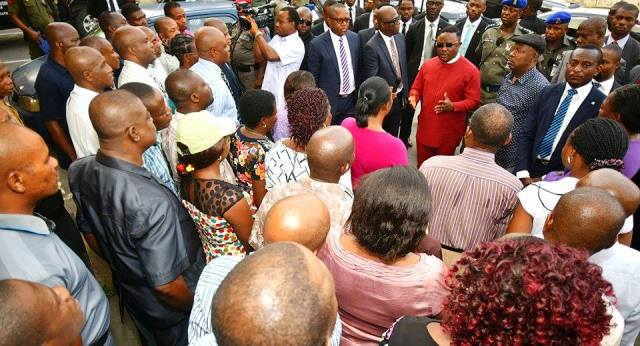 Governor Ayade addressing staff at the Land and Urban Development Ministry
