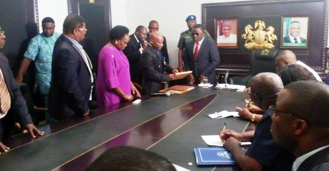 Equatorial Guinea's Consular General for Eastern Nigeria, Ambassador Juan Manana Mbomio presenting his letter of credence to Governor Ayade in his office in Calabar today