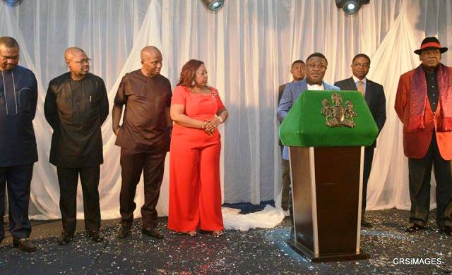 Senator Gershom Bassey, Senator Ita Giwa, Chief Edem Duke, Gabe Onah and others, watching and the governor address attendees at the dinner for sponsors of the 2015 Carnival Calabar