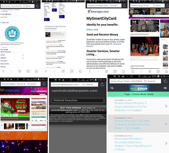 Home pages of some of the websites