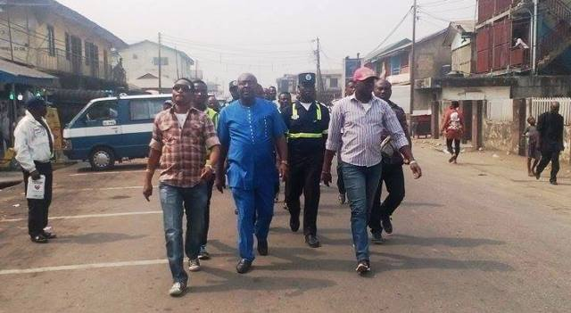 SA DOPT, Gab Okulaja (in blue) while inspecting parks along major routes in Calabar South