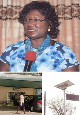 Professor Florence Obi (inset) a solar power project she initiated in the faculty