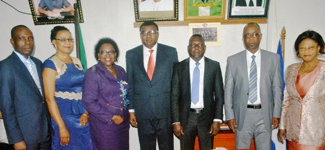 Cross section the Board Members and the Commissioner of Education and his Permanent Secretary after the inauguration